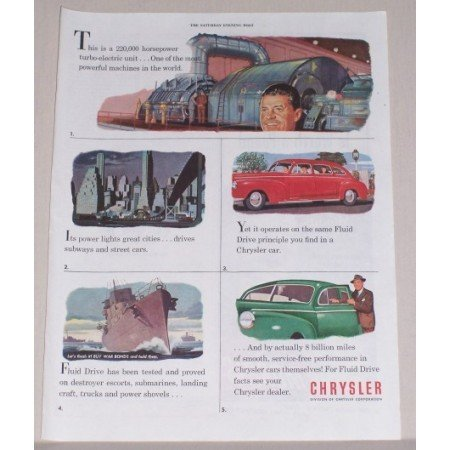 1945 Chrysler Dealer Automobile Color Print Car Art Ad