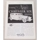 1931 Chrysler Six 4DR Sedan Automobile Vintage Print Car Ad