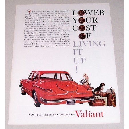 1960 Chrysler Valiant 4 Door Automobile Color Print Car Ad