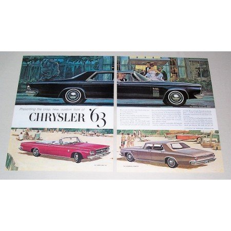 1962 Chrysler New Yorker Automobile 2 Page Color Print Car Ad