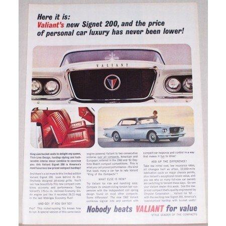 1961 Valiant Signet 200 Automobile Color Print Car Ad