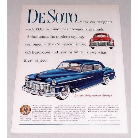 1949 DeSoto Custom 4 Door Auto Car Ad