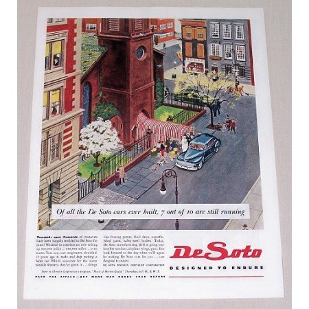 1945 DeSoto Auto Car Color Downtown Art Color Print Ad