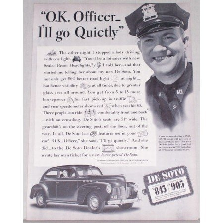 1940 DeSoto Automobile Vintage Print Car Ad - Ok Officer I'll Go Quietly