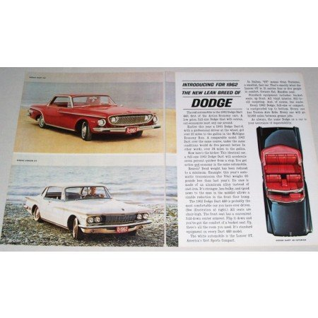 1962 Dodge Dart 440 Lancer 2 Page Automobile Color Print Car Ad
