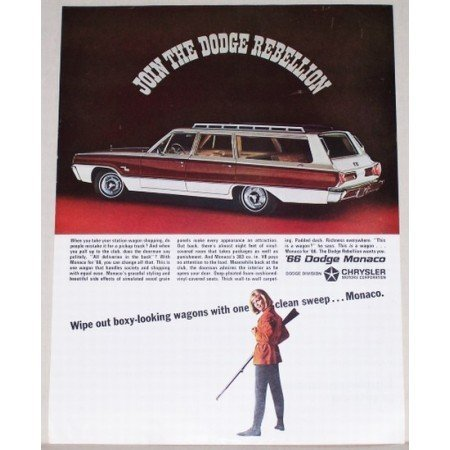 1966 Dodge Monaco Station Wagon Automobile Color Print Car Ad
