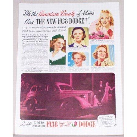 1938 Dodge Sedan Automobile Color Print Car Ad - American Beauty