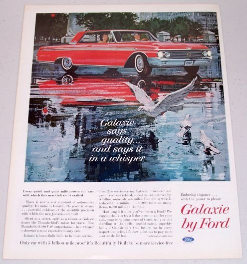 1962 Ford Galaxie 500 Automobile Art Color Print Car Ad
