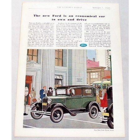 1931 Ford Tudor Sedan Automobile Color Print Car Ad
