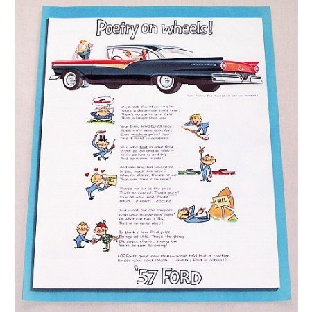 1957 Ford Fairlane 500 Automobile Art Color Print Car Ad - Poetry On Wheels