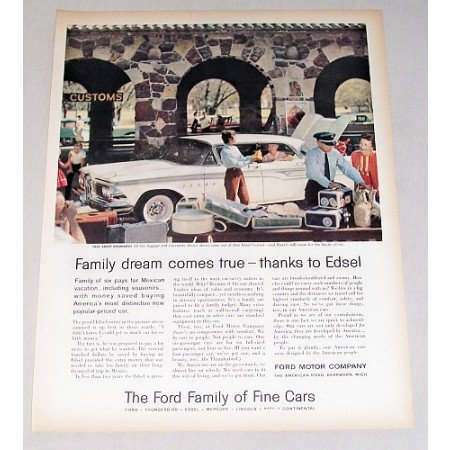 1959 Ford Edsel Corsair Automobile Mexican Border Art Color Print Car Ad