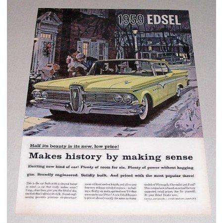 1959 Ford Edsel Automobile Color Print Car Ad