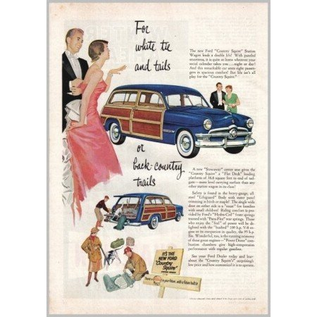 1950 Ford Country Squire Wagon Automobile Color Print Car Ad