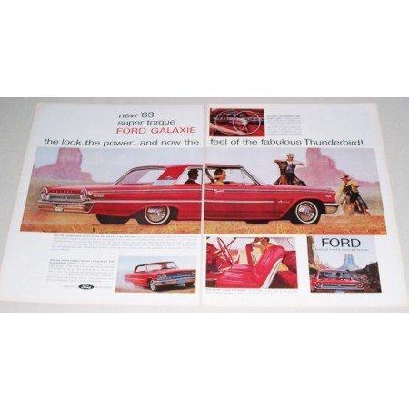 1963 Ford Galaxie 2 Door Automobile 2 Page Color Print Car Ad