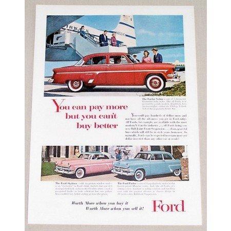 1955 Ford Fordor Sedan Automobile Color Print Car Ad