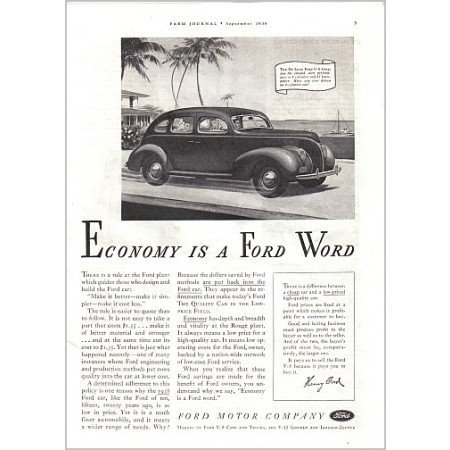 1938 Ford Deluxe 4DR Sedan Automobile Vintage Print Car Ad - Ford Word