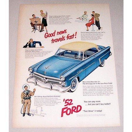 1952 Ford Crestline Automobile Color Print Car Ad - Good News