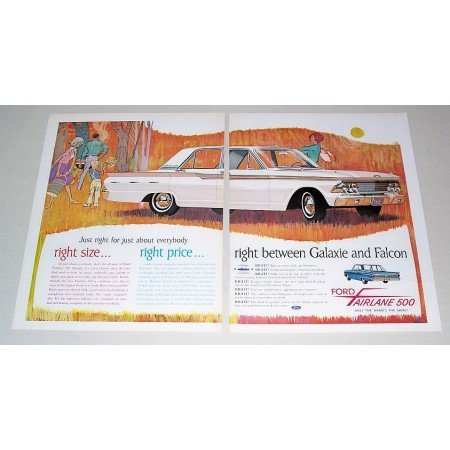 1962 Ford Fairlane 500 4Dr Automobile 2 Page Color Print Car Ad