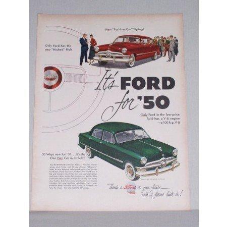 1950 Ford Custom Sedan Automobile Color Print Car Ad - Fashion Car