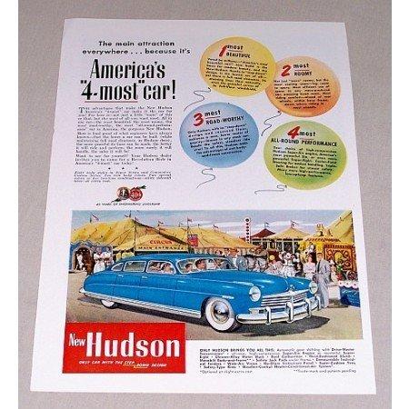 1949 Hudson Automobile Color Print Car Ad - America's 4 Most Car