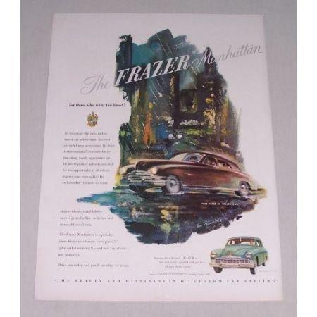 1949 Frazer Manhattan Automobile Car Color Print Art Ad
