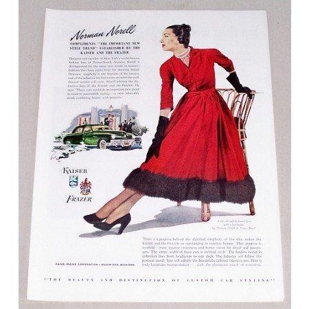 1947 Kaiser Frazer Automobile Art Color Print Car Ad - Norman Norell