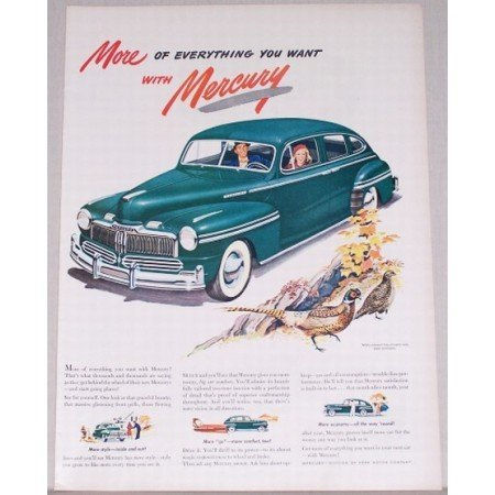 1947 Mercury Sedan Automobile Art Color Print Car Ad