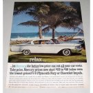 1960 Mercury Monterey Automobile Dorado Beach Color Print Car Ad