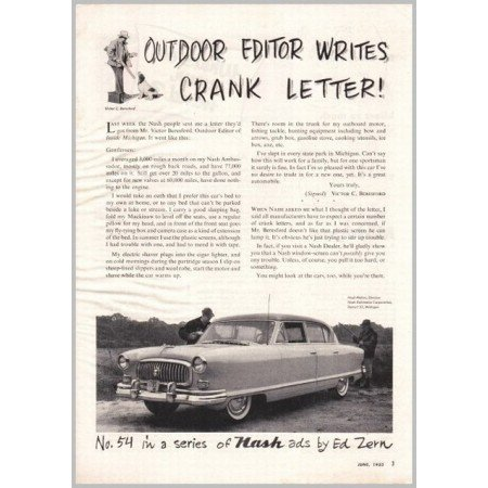 1953 Nash Ambassador Ed Zern Series #54 Automobile Vintage Print Car Ad