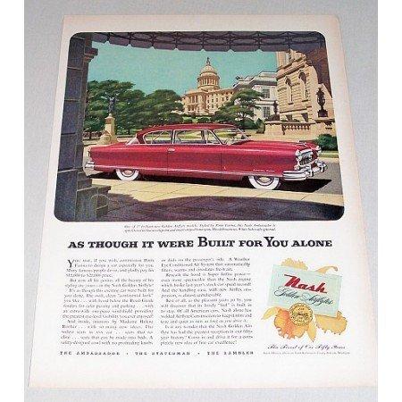 1952 Nash Ambassador Custom 2 Door Automobile Color Print Car Ad