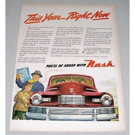 1946 Nash Automobile Art Color Print Car Ad - This Year Right Now