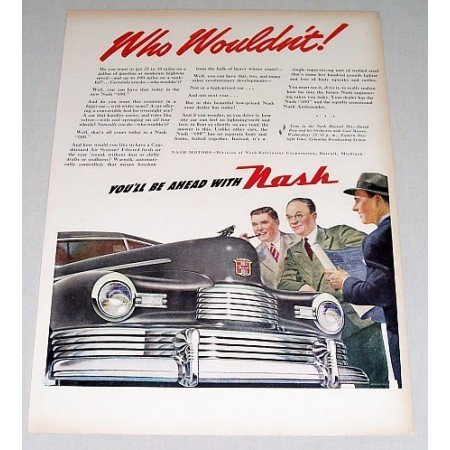 1946 Nash Automobile Color Print Car Art Ad - Who Wouldn't
