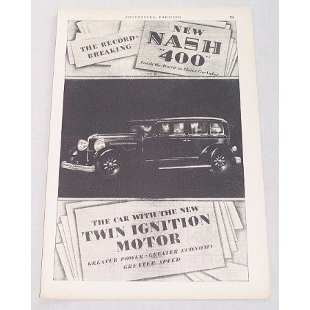 1929 Nash 400 4DR Sedan Automobile Vintage Print Car Ad