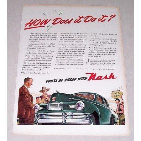 1946 Nash Automobile Color Art Print Car Ad - How Does It Do It?