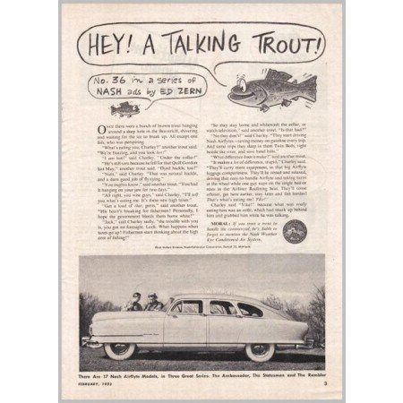 1952 Nash Airflytes Automobile Series #36 Ed Zern Art Vintage Print Car Ad Ad