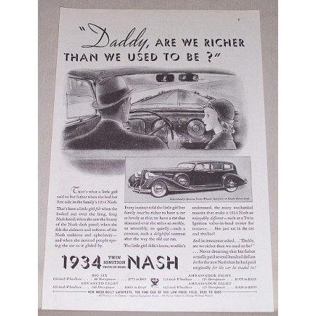 1934 Nash Automobile Vintage Print Car Ad - Daddy Are We Richer?