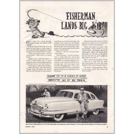 1951 Nash Airflyte Automobile Series #25 Ed Zern Vintage Print Car Ad