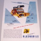1949 Futuramic Oldsmobile Rocket Engine Color Print Art Ad
