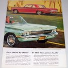 1961 Color Print 2 Page Car Ad for 1962 Oldsmobile F85 Cutlass Convertible Automobile
