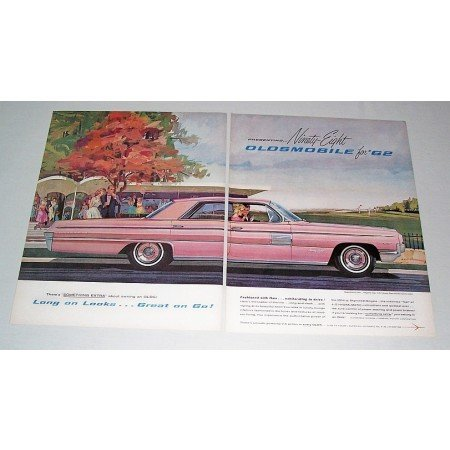 1962 Oldsmobile Ninety Eight 98 4DR Automobile 2 Page Color Print Car Ad