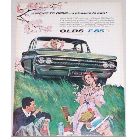 1962 Oldsmobile F-85 Automobile Art Color Print Car Ad - Picnic To Drive