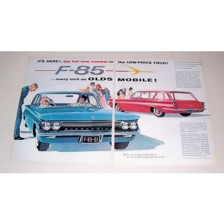1961 Oldsmobile F-85 4DR Auto & Station Wagon Automobile 2 Page Color Print Car Ad