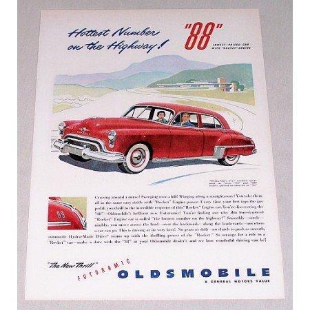 1949 Oldsmobile 88 Automobile Color Print Car Ad - Hottest Number