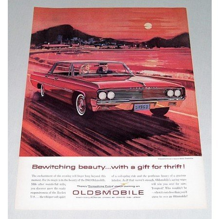 1963 Oldsmobile Dynamic 88 Automobile Sunset Art Color Print Car Ad