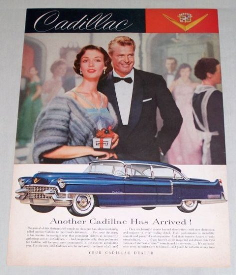 1955 Cadillac 4Dr Automobile Color Print Car Ad