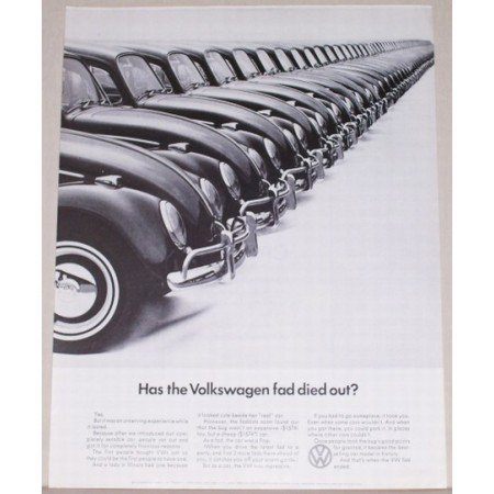 1966 VW Volkswagen Automobile Vintage Print Car Ad - Fad Died Out?
