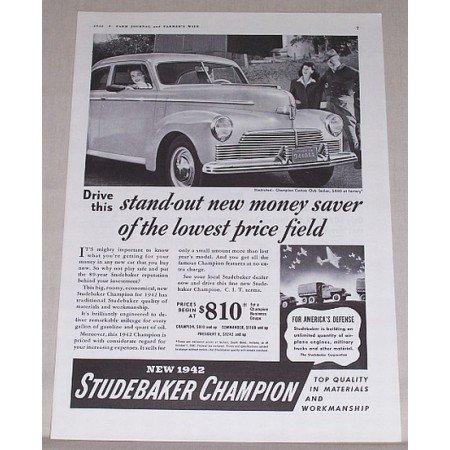 1942 Studebaker Champion Sedan Automobile Vintage Print Car Ad