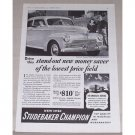 1942 Studebaker Champion Sedan Automobile Vintage Print Car Ad
