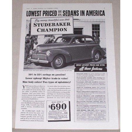 1941 Studebaker Champion Sedan Automobile Vintage Print Car Ad