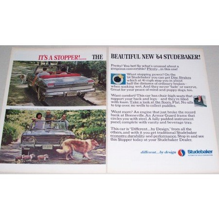 1964 Studebaker Daytona Convertible Automobile 2 Page Color Print Car Ad